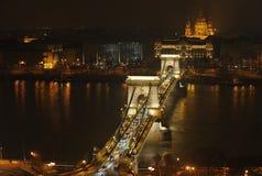 Nattljus i Budapest Royaltyfria Foton