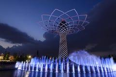 Nattljusshow på trädet av liv 01, EXPO Milan 2015 Royaltyfri Fotografi