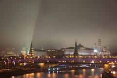 NattMoskva, MoskvaKreml Royaltyfri Foto