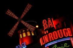 nattoct paris för moulin 29 rouge Arkivfoto