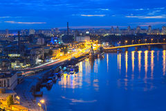 Nattpanorama av Kiev Royaltyfri Foto