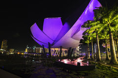 Nattpanorama av Singapore Arkivfoto