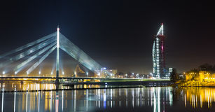 Nattpanorama på Riga Arkivfoton