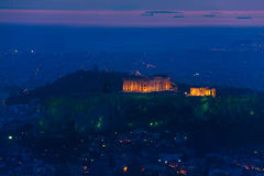 Nattpanorama, Parthenontempel, Aten i Grekland Arkivbild
