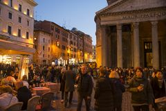 nattpantheon rome Royaltyfri Bild