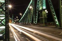Nattplats av Elisabeth Bridge i Budapest Arkivbilder