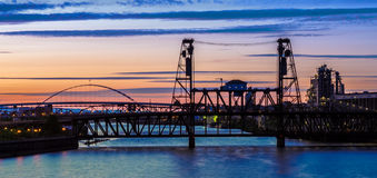 Nattplats av Portland, Oregon Arkivfoto