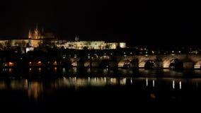 Nattplats av Prague panorama Royaltyfria Bilder