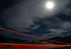 Nattplats av sjöstaden Arkivfoto