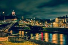 Nattplats av Vilnius Royaltyfria Foton