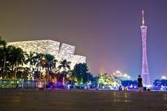 Nattplats i den guangzhou Huacheng fyrkanten Arkivbilder