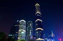 Nattplats i guangzhou Zhujiang den nya townen Arkivfoton
