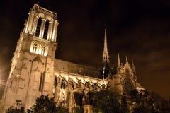Nattplats med den Notre-Dame domkyrkan Arkivfoto