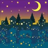 Nattplats med många hus vektor illustrationer