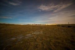Nattplats på Seljarnarnes, Reykjavik, Island Royaltyfri Foto