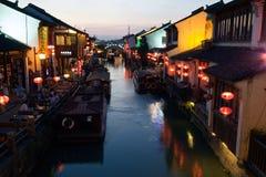 Nattplatsen av Suzhou Shantang Royaltyfri Foto