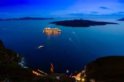 Nattplatser av Santorini Arkivbild