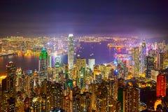 Nattplatserna av Hong Kong Arkivbilder