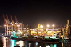 Nattport och skepp Royaltyfri Fotografi
