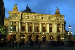 Natts opera Paris, Frankrike arkivfoto