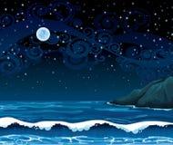 Nattseascape med vinkar, ön och fullmånen Royaltyfri Fotografi