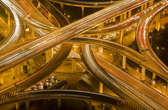 nattshanghai trafik royaltyfri fotografi