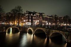 Nattsikt Amsterdam Royaltyfri Fotografi