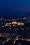 Nattsikt av acropolisen Fotografering för Bildbyråer