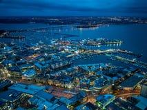 Nattsikt av Auckland, Nya Zeeland från himmeldäcket av himmeltornet arkivbild