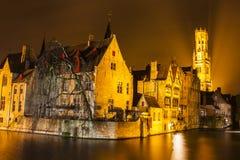 Nattsikt av Bruges Fotografering för Bildbyråer