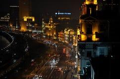 Nattsikt av bunden, Shanghai Kina Arkivfoton