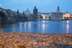 Nattsikt av Charles Bridge i Prague Arkivfoton