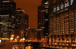 Nattsikt av Chicago royaltyfri fotografi