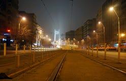 Nattsikt av den Basarab bron från Bucharest Royaltyfri Bild