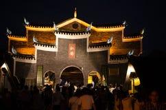 Nattsikt av den forntida staden för fenghuang Royaltyfri Bild