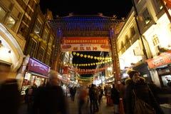Nattsikt av den London kineskvarteret, kinesisk helgdagsafton för nytt år Royaltyfri Foto