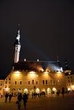 Nattsikt av den Tallinn staden Arkivfoton