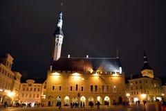 Nattsikt av den Tallinn staden Royaltyfria Foton