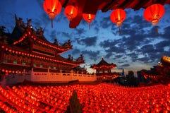 Nattsikt av den Thean Hou templet Royaltyfria Foton