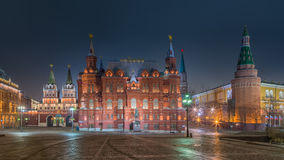 Nattsikt av det historiska museet i Moskva Royaltyfria Foton