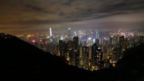 Nattsikt av det Victoria för Hong Kong stadsform maximumet Royaltyfri Fotografi