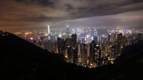 Nattsikt av det Victoria för Hong Kong stadsform maximumet Arkivfoton