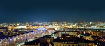 Nattsikt av Dresden, Tyskland, December 2017 Royaltyfria Bilder