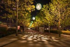 Nattsikt av drottningen Elizabeth Olympic Park, London UK Arkivfoto