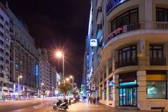 Nattsikt av Gran via från den Spanien fyrkanten Fotografering för Bildbyråer