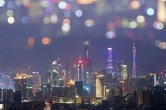 nattsikt av guangzhou Arkivfoto