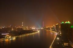 Nattsikt av Guangzhou Kina royaltyfria foton