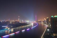 Nattsikt av Guangzhou Kina fotografering för bildbyråer