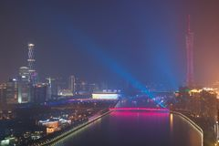 Nattsikt av Guangzhou Kina royaltyfria bilder