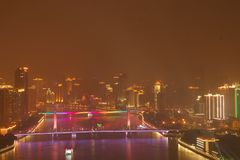 Nattsikt av Guangzhou Kina royaltyfri bild